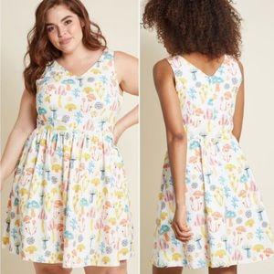 ModCloth plus size woven mushroom print dress 1746